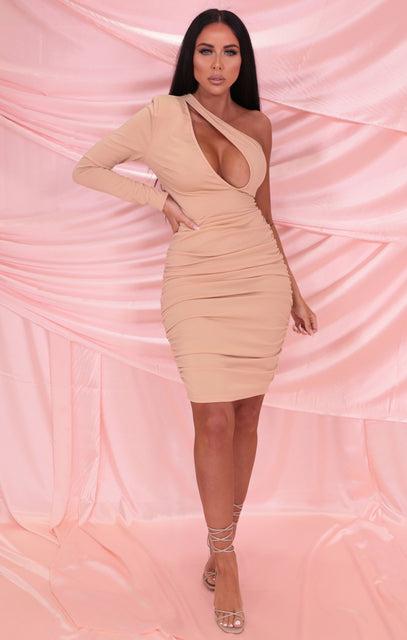 Nude One Shoulder Cut Out Ruched Midi Dress - Liza