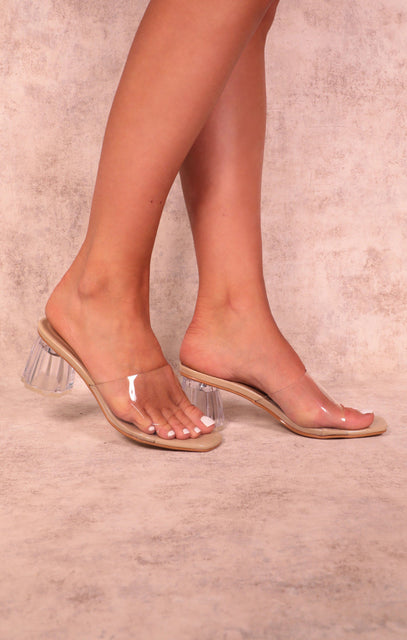 Nude Perspex Low Block Heel Mules - Connie