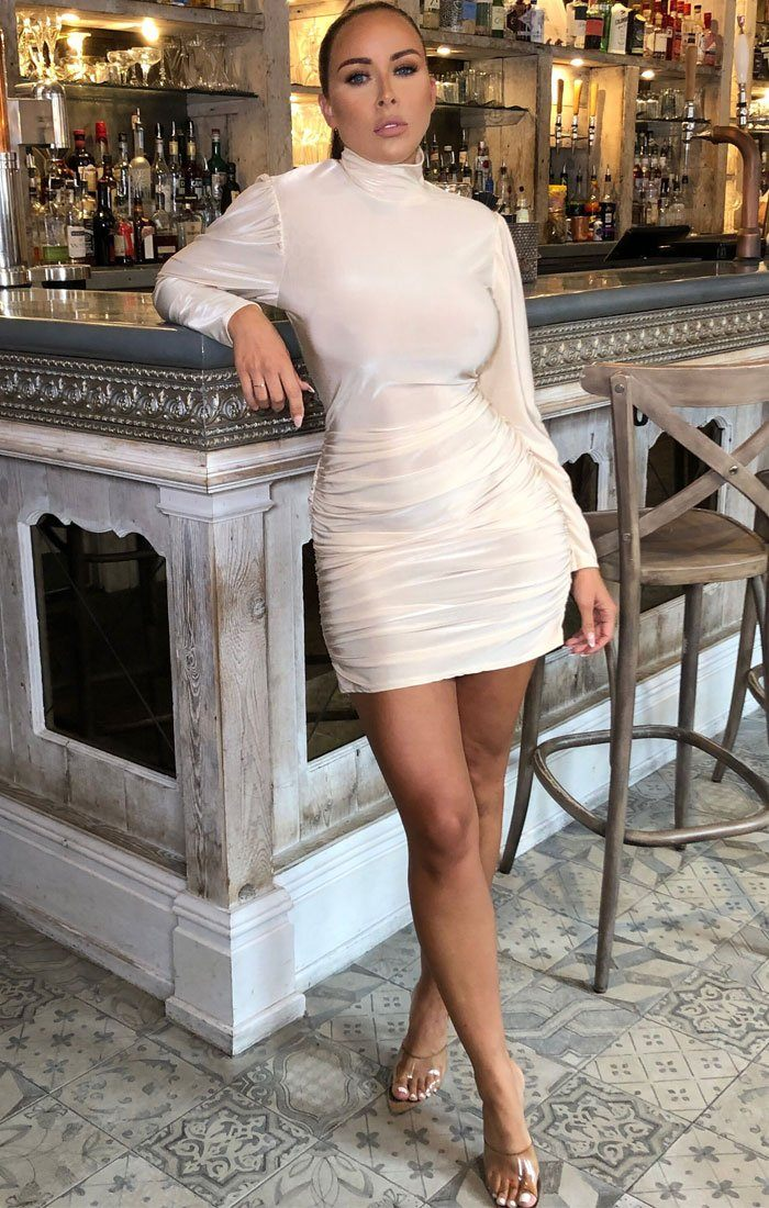 Nude Ruched High Neck Bodycon Midi Dress - Peyton