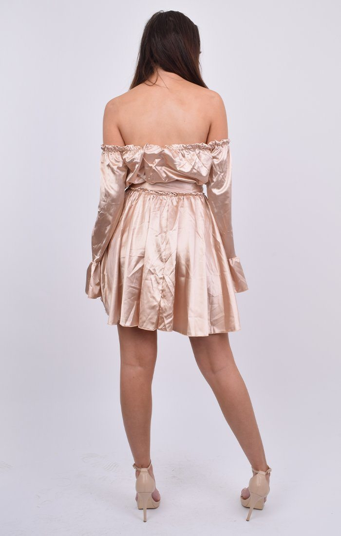 Nude Satin Bardot Flare Sleeve Milkmaid Dress - Elba