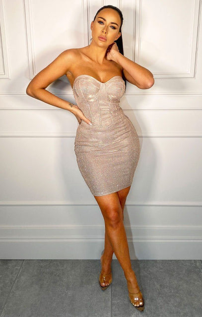 Nude Sparkly Corset Mini Dress - Grace