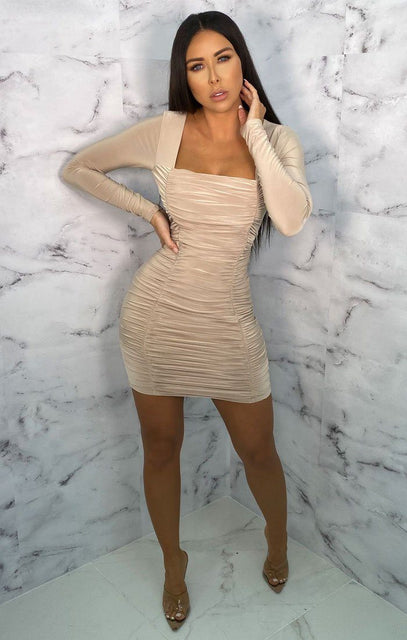 Nude Square Neck Ruched Bodycon Mini Dress - Gina