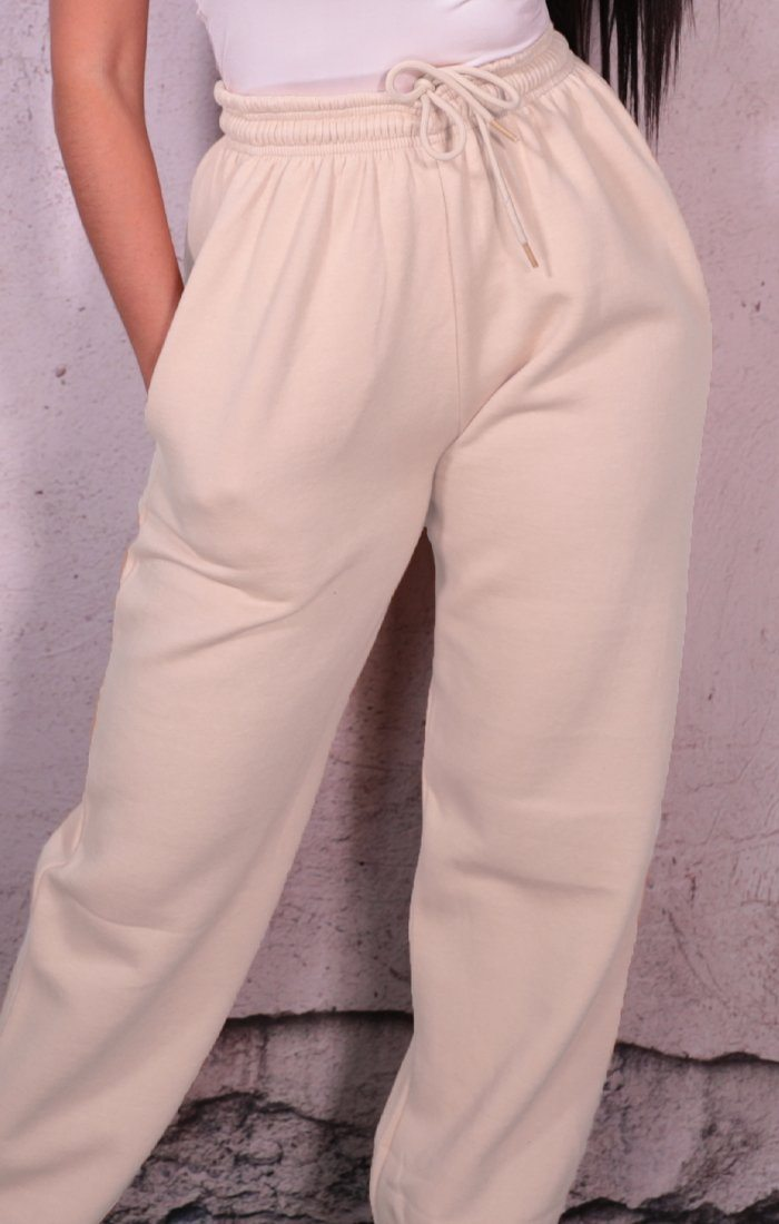Off White Cuffed Joggers - Lizzie