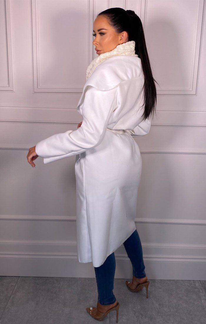 Off White Waterfall Duster Belted Long Coat