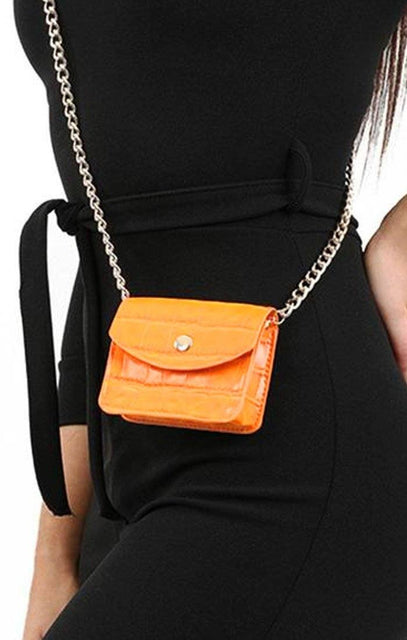 Orange Animal Croc Print Micro Mini Bag - Xanthe