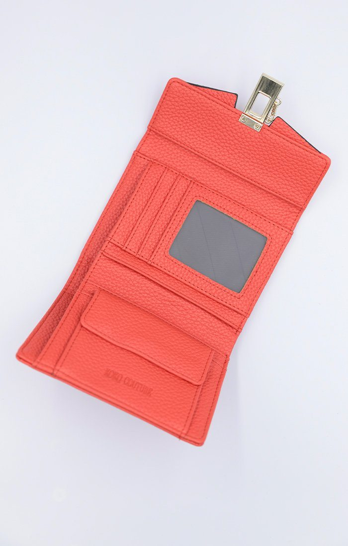 Orange Faux Leather Gold Clip Purse - Lucille