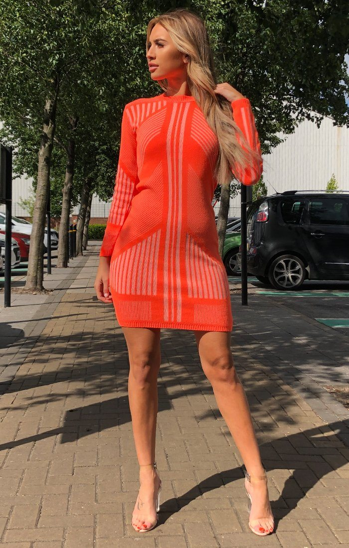 Orange Knitted Stripe Print Jumper Dress - Rowan