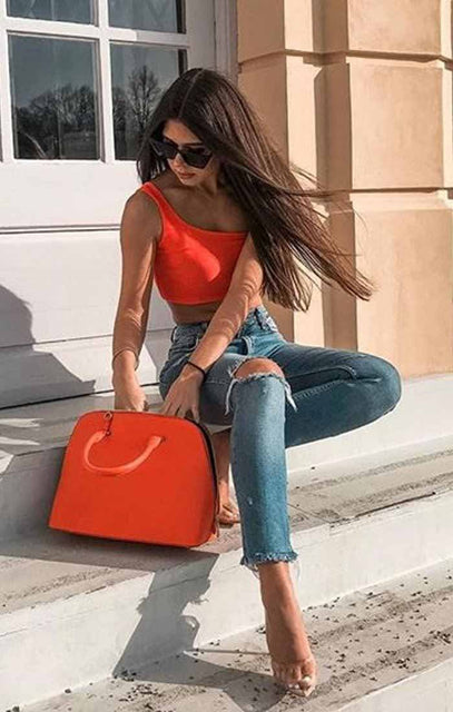 Orange One Shoulder Crop Top - Keeley