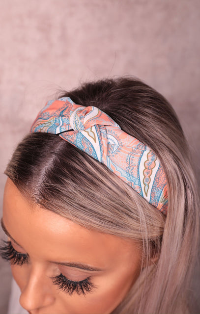 Orange Paisley Print Twist Front Headband - Cammie