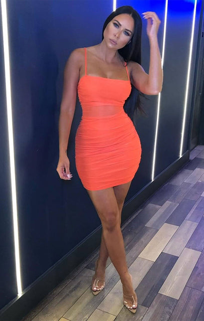 Orange Ruched Mesh Strappy Mini Dress - Tegan
