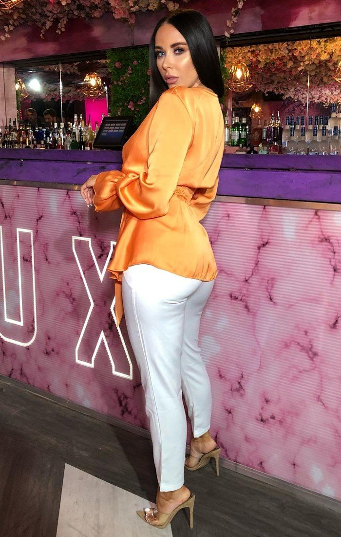 Orange Satin Long Sleeve Wrap Top - Journee