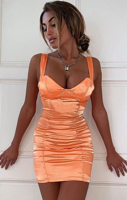 Orange Satin Padded Cup Dress - Amalia