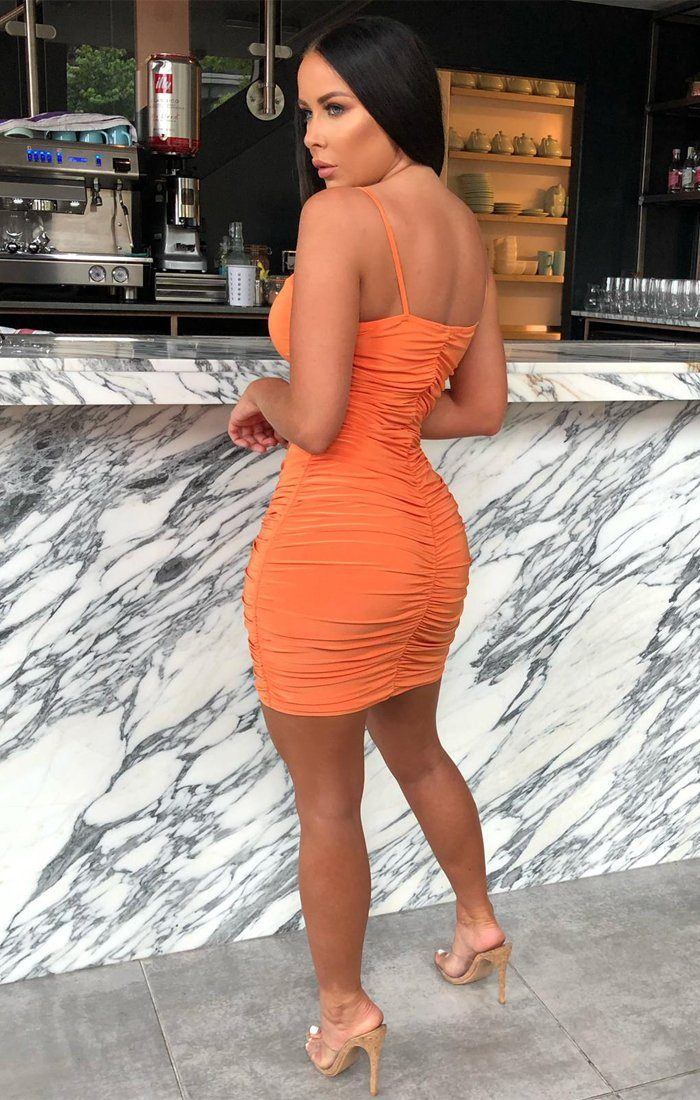 Orange Slinky Extreme Ruched Mini Dress - Ruth