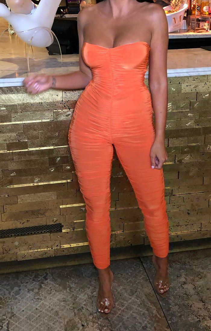 Orange Slinky Ruched Strapless Jumpsuit - Emory