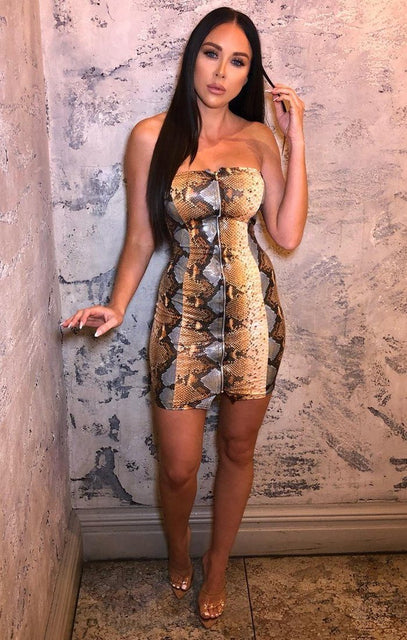 Orange Snake Print PU Mini Dress - Kaylee