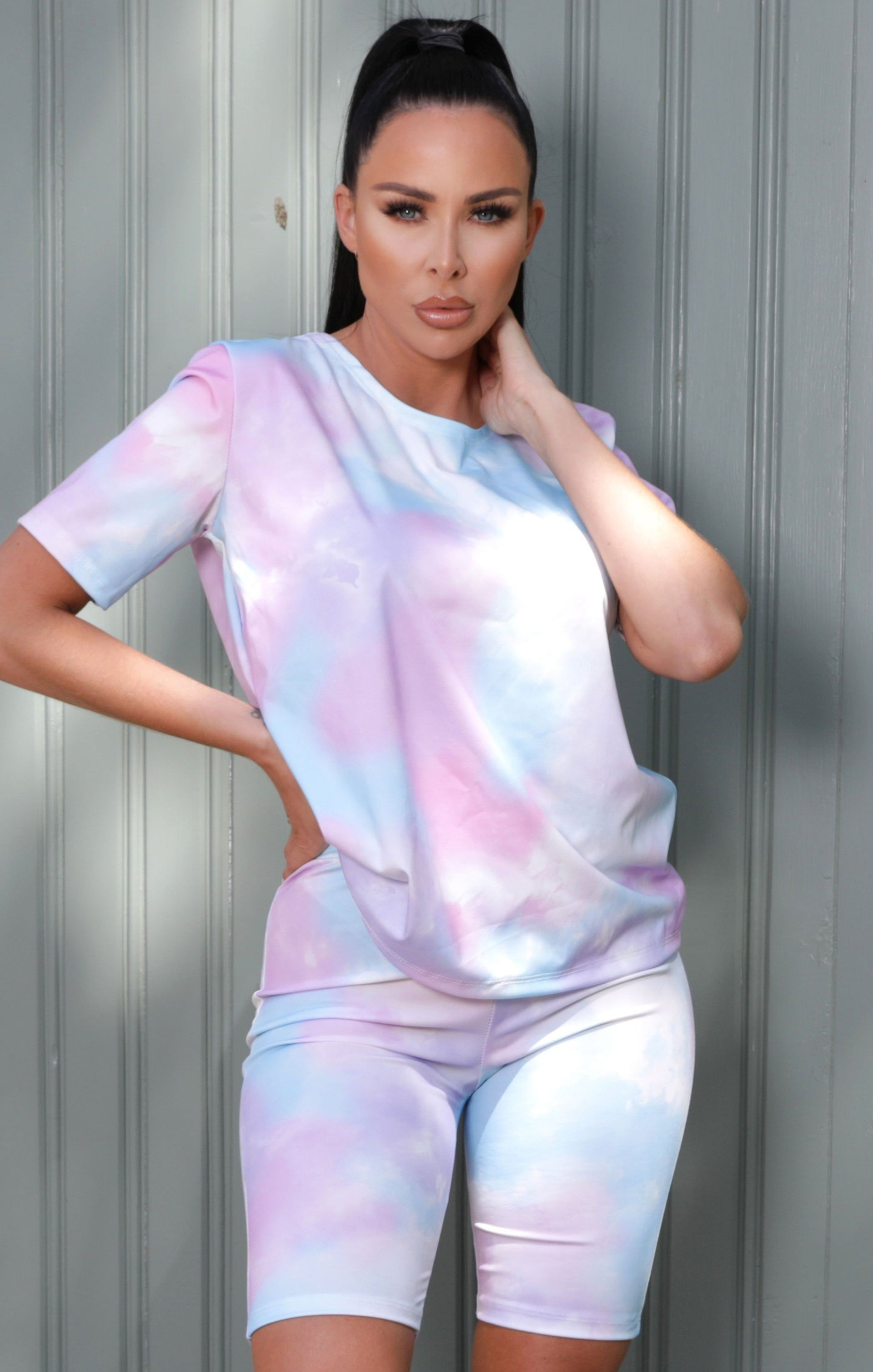 Pastel Pink Tie Dye Oversized T-Shirt Co-ord - Maisie