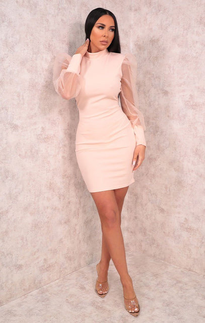 Peach Organza Sleeve High Neck Mini Dress - Sarai