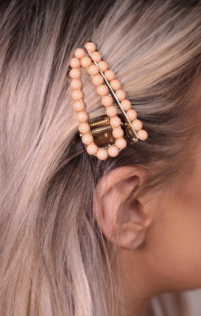 Peach Pearl Gold Hair Clip Two Pack - Carley