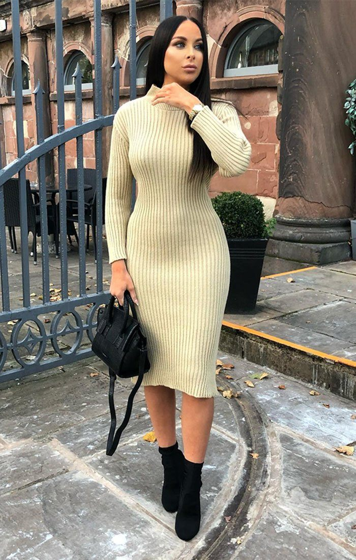 3fcf9808a393 Stone Knitted Ribbed Long Sleeved Midi Dress | Dresses | Femme Luxe ...