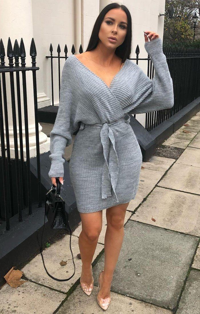 Grey-Knit-Long-Sleeve-Tie-Front-Wrap-Dress-Star