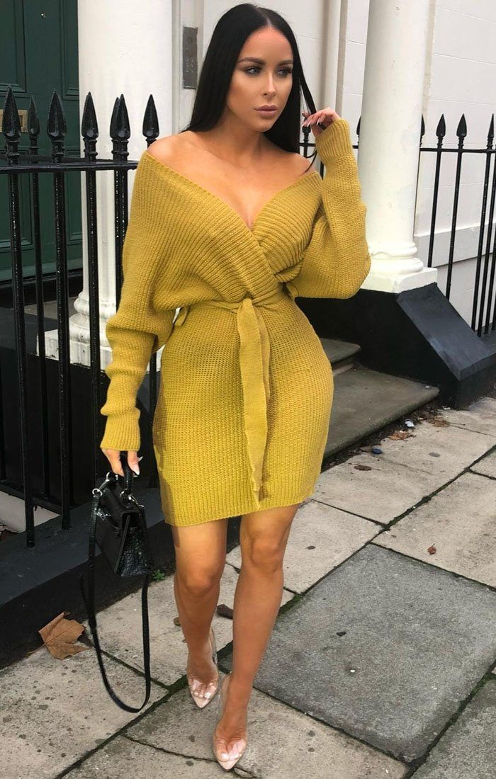 Mustard-Knit-Long-Sleeve-Tie-Front-Wrap-Dress-Star