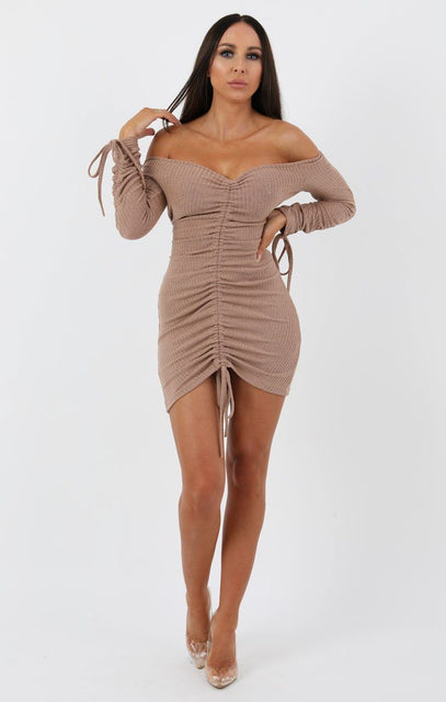 Stone Ribbed Long Sleeve Bardot Ruched Bodycon Dress - Genevieve