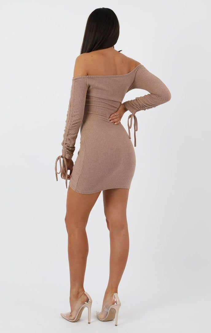 3893a5eb72ddc Stone Ribbed Long Sleeve Bardot Ruched Bodycon Dress - Genevieve