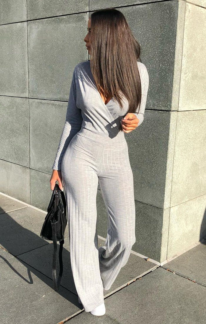 Grey Ribbed Long Sleeved Plunge Jumpsuit - Cassie jumpsuits FemmeLuxe