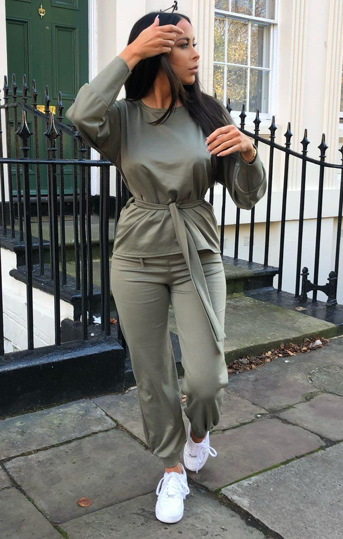 Khaki Boxy Long Sleeved Tie Loungewear Set - Leah loungewear FemmeLuxe