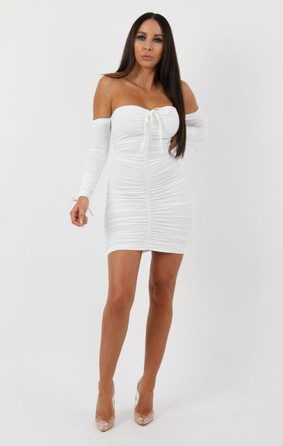 White Long Sleeve Bardot Ruched Bodycon Dress - Ivy