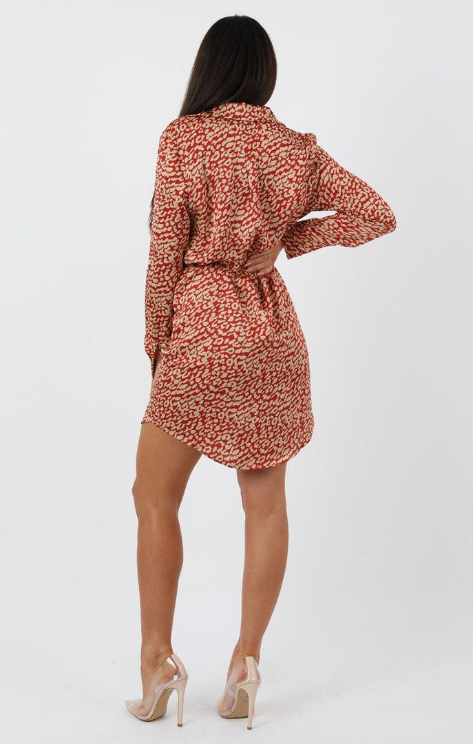 Red Animal Cheeta Print Silk Shirt Dress - Bobbie