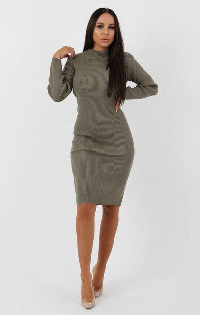 Khaki Knitted Ribbed Long Sleeved Midi Dress - Ellis