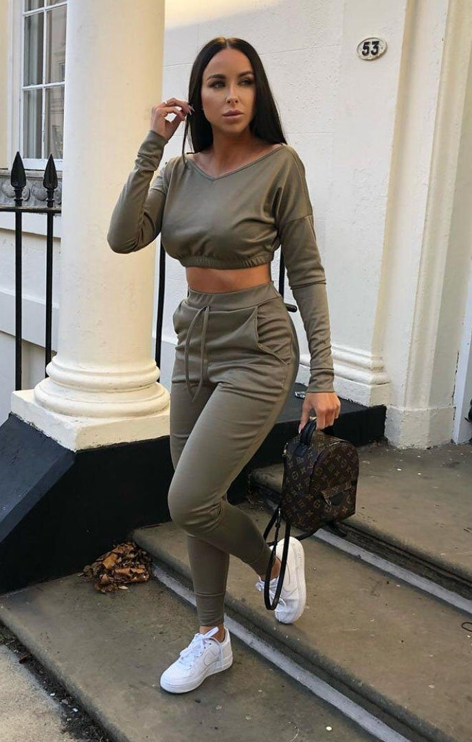 Khaki Crop Jumper Loungewear Set - Deanna