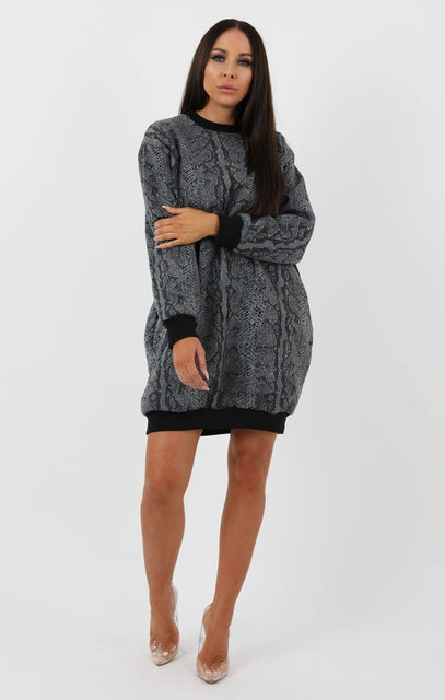 Animal Snake Print Long Sweater Dress - Anna