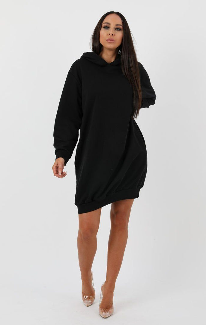 Black Hooded Sweater Dress - Avery