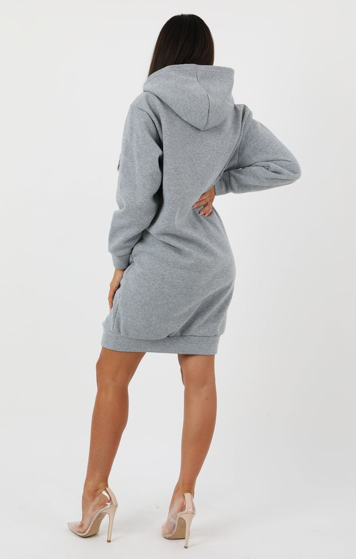 Grey Hooded Sweater Dress - Avery