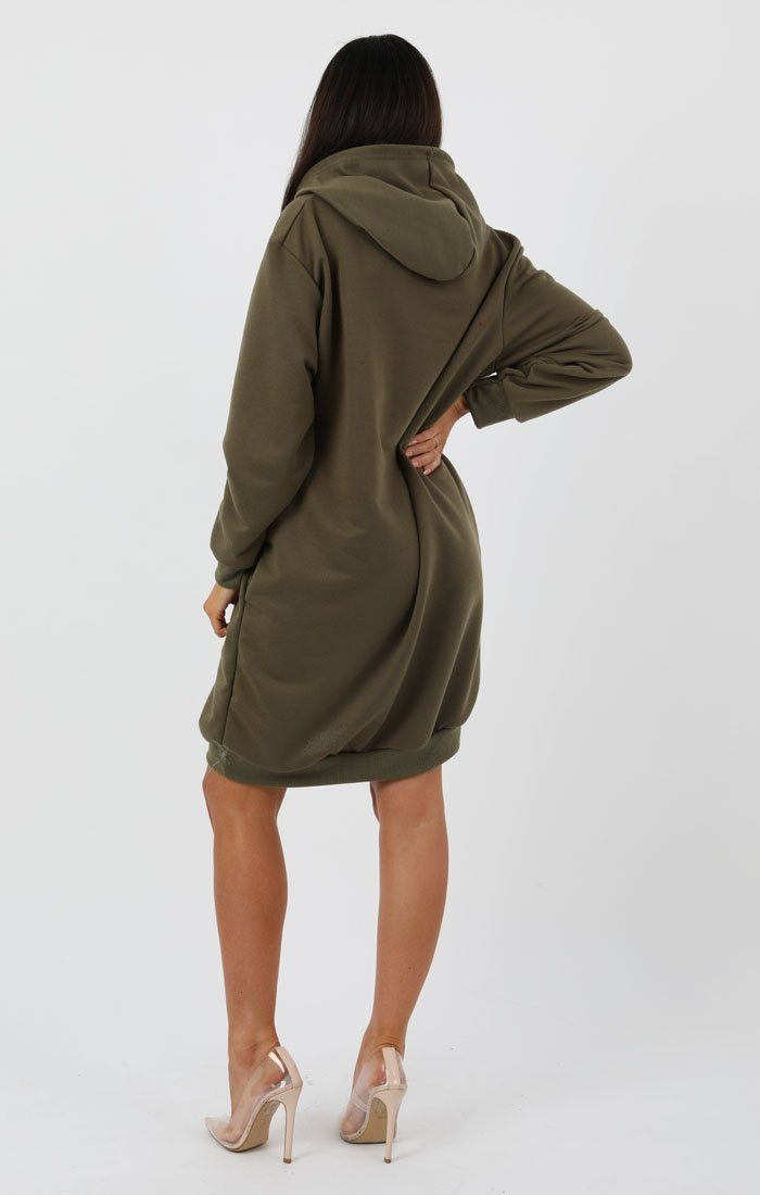 Khaki Hooded Sweater Dress - Avery
