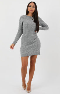 Grey Cable Knit Jumper Dress - Winter
