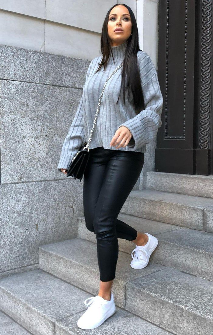 Grey-Ribbed-Knit-Oversized-High-Neck-Jumper-Elisha