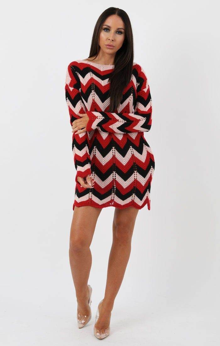 Black Red Nude Knit Crochet Chevron Dress - Georgia