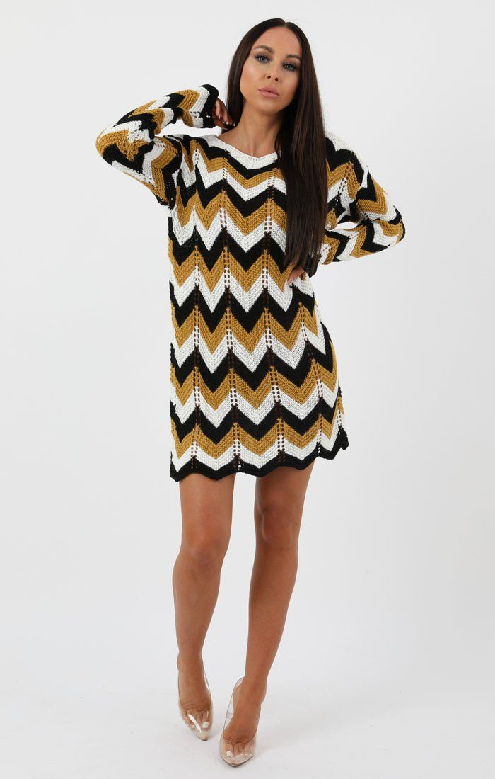 Mustard Black White Knit Crochet Chevron Dress - Georgia