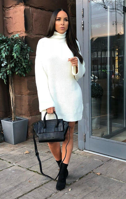 Cream Knit High Neck Oversized Jumper Dress - Eliana