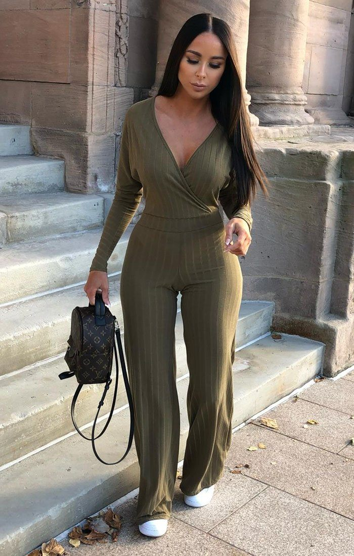 Khaki Ribbed Long Sleeved Plunge Jumpsuit - Cassie jumpsuits FemmeLuxe