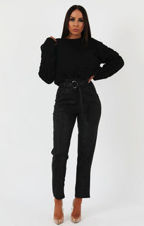 Black Animal Crocodile Print Cigarette Trousers with Belt - Kim