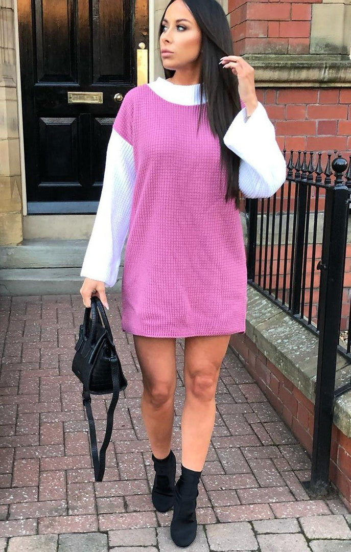 Pink Knit Block Colour Jumper Dress - Ella