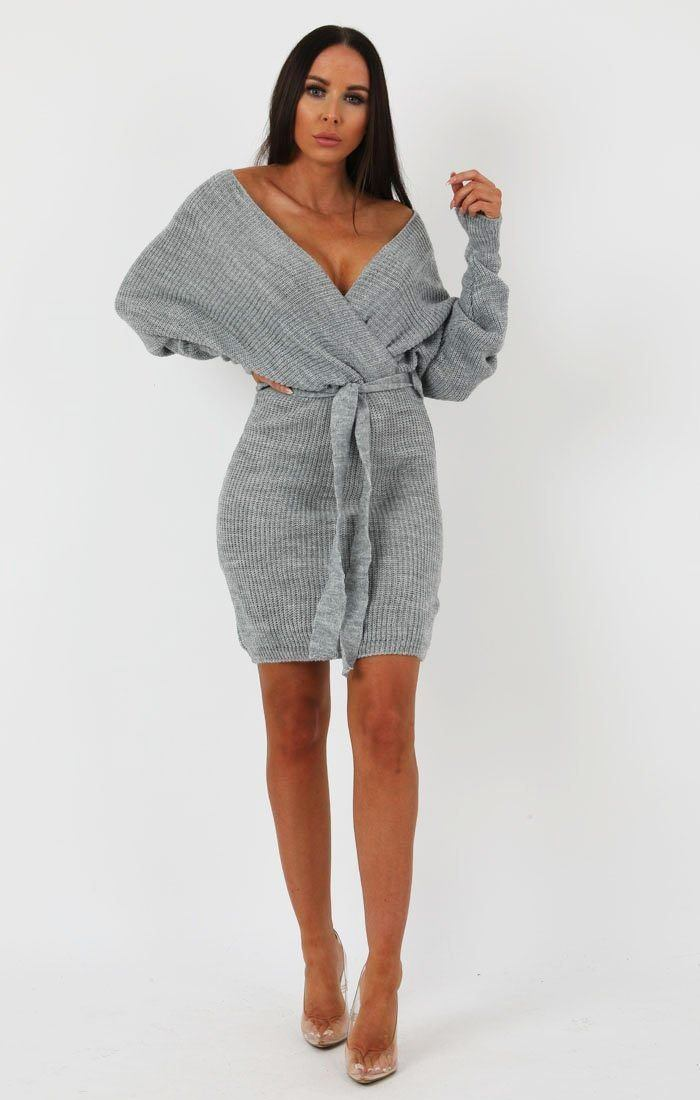 Grey Knit Long Sleeve Tie Front Wrap Dress - Star