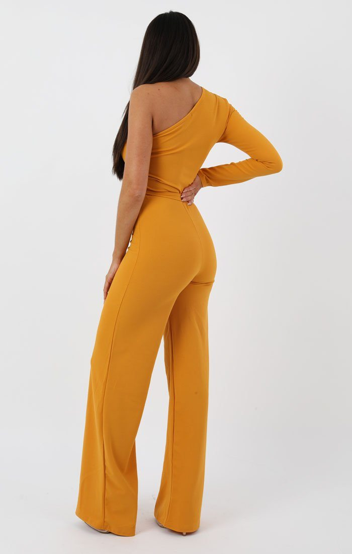 Mustard Belted One Shoulder Jumpsuit - Evelyn