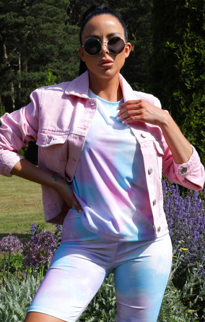 Pink Acid Wash Denim Jacket - Abbie