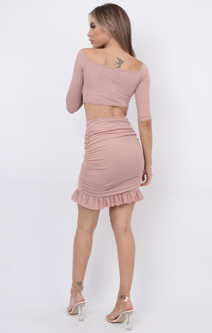 Pink Bardot Ruched Midi Skirt Co-ord - Layla