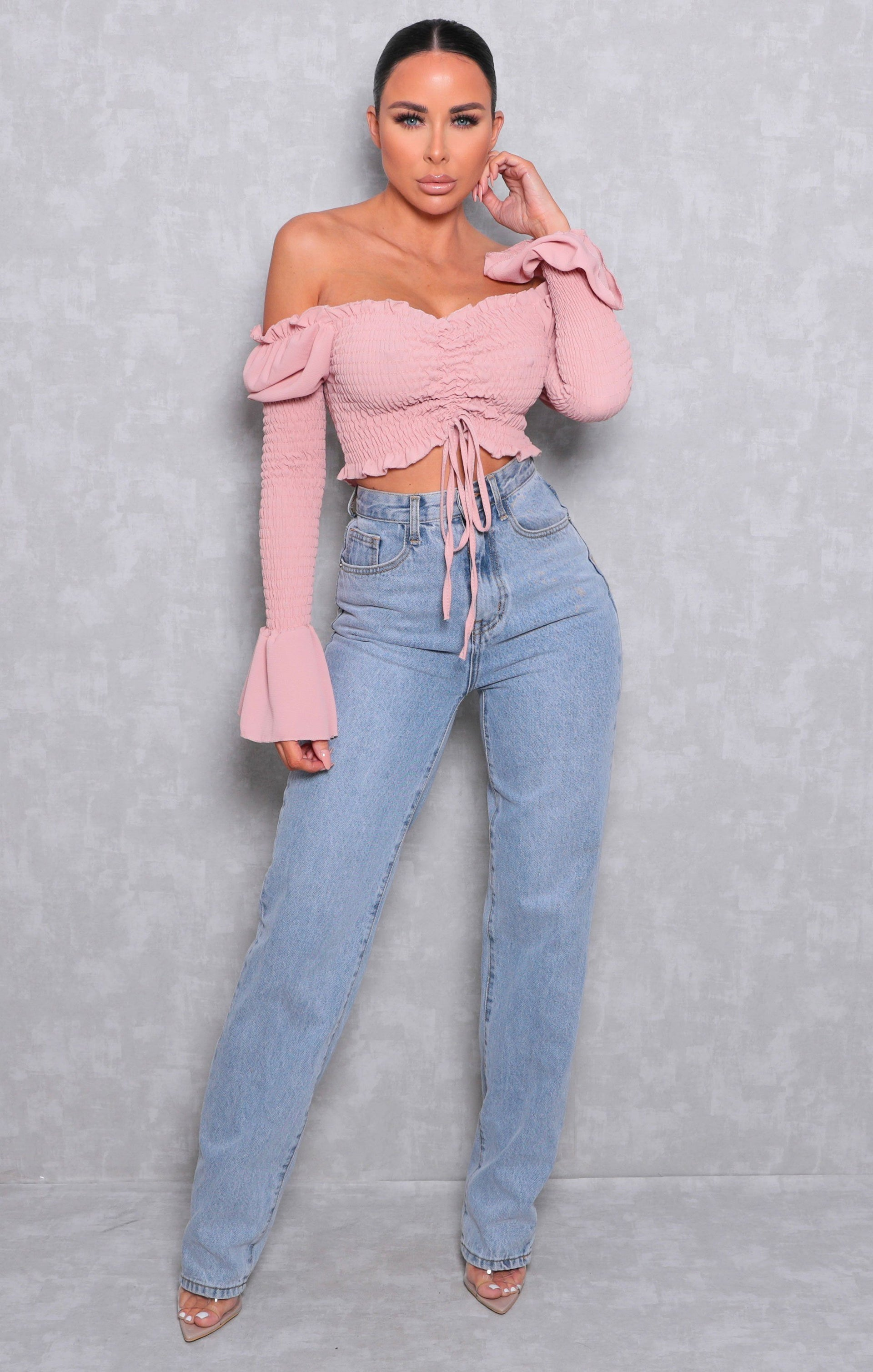 Pink Bardot Shrilled Mesh Crop Top - Edina